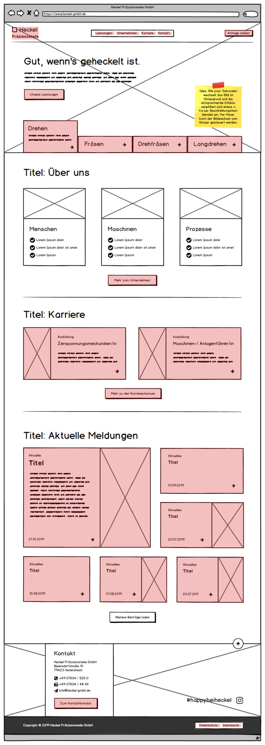 Wireframes: Webseiten-Relaunch